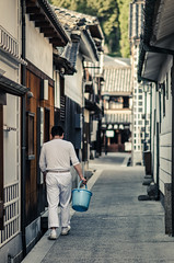 Cleaning Out For The Evening (lestaylorphoto) Tags: old travel trees japan architecture night buildings evening boat canal ancient alley nikon district tokina leslie taylor historical bluehour okayama kurashiki bikan chiku 1116mm d7000 lestaylorphoto