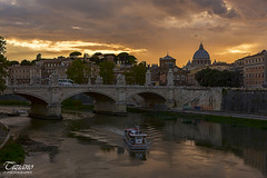 Rome sunset (Tiziano Photography) Tags: tevere rome sunset bridge river boats sky clouds landscape nikond750 nikon d750 italy roma tramonto fiume ponte battello panorama cielo nuvole