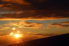 2016_10_03_lhr-ewr_168 (dsearls) Tags: 20161003 lhrewr sunset altittude flying newyork newjersey aerial windowseat windowshot united ual unitedairlines aviation wing airplane boeing boeing767 blue sky orange clouds pink altostratus altocumulus stratus sun