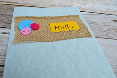 Burlap greetings (emmacraig1) Tags: homemade card buttons greeting hello burlap crafts
