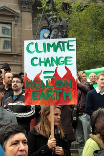 From flickr.com/photos/81043308@N00/5799420898/: Climate Change=Hell on Earth - Melbourne World Environment Day 2011