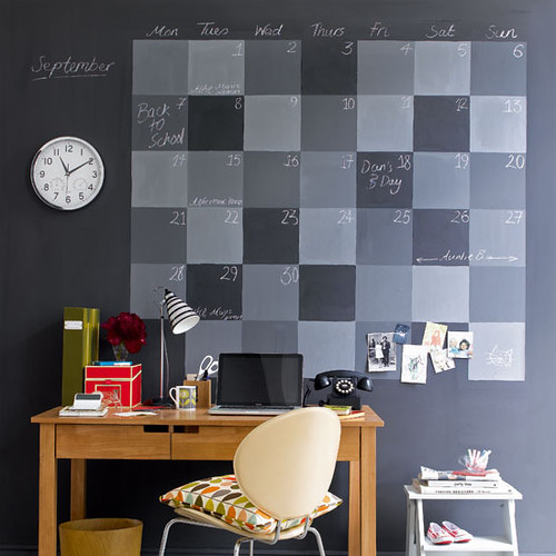Home office with chalkboard wall via housetohome.co.uk