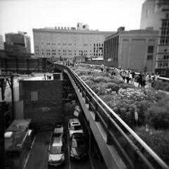 high line (donnievendetta) Tags: park new york city nyc b white black 120 6x6 film june yellow holga high lomo lomography chelsea kodak manhattan w trix 400tx line filter 400 donnie medium format elevated vignette vendetta 2011