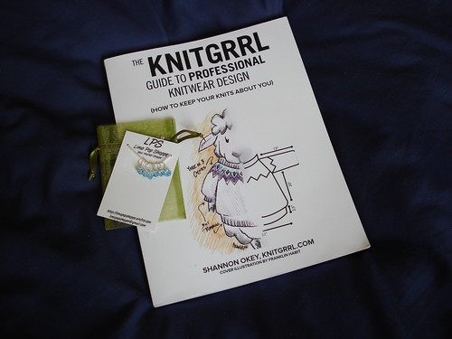 Shannon Okey Knitgirl signed book and Limapop Shop blue crystal stitch markers
