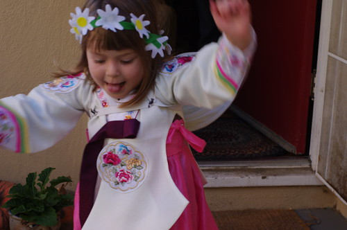 Amelia playing dress-up