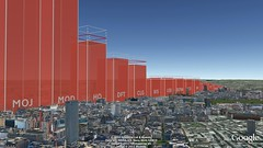UK Government CO2 emissions 2011 (actual volume) - view from Tottenham Court Road (Carbon Visuals) Tags: emissions googleearth co2 carbondioxide 2011 ukgovernment concretevisualisation