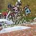 The largest paper helicopter drop ever at Indian Lake Central School. Photo: Patricia Curry.