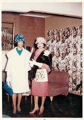 February 1962 - Elnora and Phyllis Anita (sctatepdx) Tags: found vernacular 1962 motheranddaughter vintageclothes vintagehandbag vintagefurniture vintagehats vintagepurse vintagelivingroom february1962