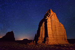 "Stars over Temple of the Moon (IronRodArt - Royce Bair (""Star Shooter"")) Tags: park moon temple utah sandstone shadows nightscape desert cathedral scenic erosion upper capitol national valley vista moonlight fold geology capitolreef reef formations monoliths nightscapes capitolreefnationalpark geological templeofthemoon coloradoplateau waterpocketfold cathedralvalley waterpocket removedfromstrobistpool nooffcameraflash seerule1"