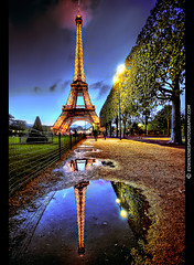 Eiffel Tower Reflection Paris (Edwinjones) Tags: pink blue trees cloud paris france reflection water french puddle lights raw path sony eiffeltower eiffel reflet reflect toureiffel champdemars bluehour hdr parisian matin parisienne 10mm parisien gustaveeiffel rflexion a700