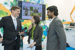 Philippe Crist with Susan Zielinski and Santhosh Kodukula at the ITF Stand