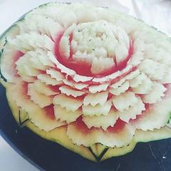 Class 10 : แกะสลักแตงโมลายดอกบานชื่น  #vegetableandfruitcarvingbynaphat