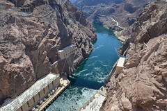 Downstream of Hoover Dam (dr_marvel) Tags: nevada arizona hoover hooverdam dam concrete cement water hydroelectric electricity power lines