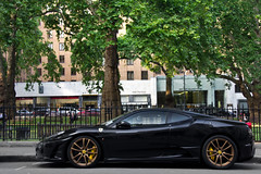 Black & Gold. (Alex Penfold) Tags: auto camera black london cars alex sports car sport mobile canon square photography eos gold photo cool flickr shot image awesome flash profile stripe picture super ferrari spot exotic photograph spotted hyper rims mayfair scuderia supercar spotting berkley numberplate exotica sportscar sportscars f430 supercars 430 penfold scud spotter 2011 ehc hypercar 60d hypercars gn58 alexpenfold gn58ehc