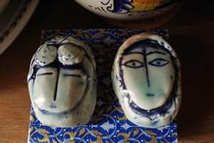 closer blue faces (omoo) Tags: newyorkcity art apartment faces interior westvillage pottery antiques greenwichvillage bluefaces closerbluefaces
