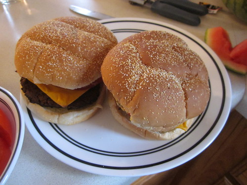 Finished burgers