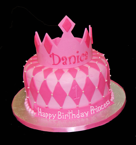 1st birthday princess tiara cake