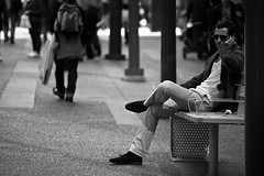 We Are All On Hold/ ...     (mohammadali) Tags: life park street city trip vacation people bw canada man slr vancouver canon photography bc may streetphotography documentary stranger 5d dslr  2011 1390 documentaryphotography    weareallonhold