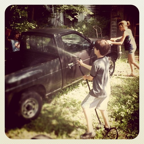 Washing grandma's truck.
