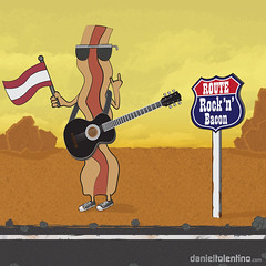 Rock'n'Bacon Route (Daniel Tolentino) Tags: road art feet rock cheese magazine foot bacon texas desert guitar fat egg 66 route estrada rocknroll violo rockeiros curioos rockbacon joxtex rocknbaconcom