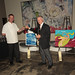 Santa Monica restaurateurs Chef Joe Miller of Bar Pintxo and Piero Selvaggio of Valentino Restaurant Group, judges in Jordan Winery's 4 on 4 Los Angeles Art Competition