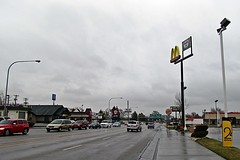 Idaho Falls, Idaho, on West Broadview Street looking East (5of7) Tags: road street sky cloud rain clouds village pavement nopeople mcdonalds idaho interstate scape ontheroad goldenarches i15 interstate15 bonnevillecounty blackfootidaho under10views i15inidaho