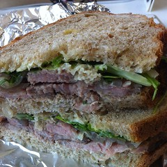 Having a sandwich of homemade roast beef on homemade bread