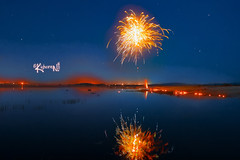 Fireworks in sky and water :) (cishore) Tags: india lake fireworks hyderabad cishore kishore nagarigari shamirpet kishorencom shamirpetnight teamhwsphotowalk36