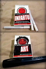 Adulterando caixinhas de cigarro encontradas nas ruas de Santiago. (------MUNDANO) Tags: chile art warning de box propaganda smoke cigar smoking add lucky strike cigars advertencia cigarrete salud ministerio cambiar mundano infarto adulterar
