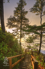 Sunset at Middle Beach (erik g peterson) Tags: ocean sunset yoga stairs pacific retreat tofino hdr middlebeachlodge tonemapped omtown