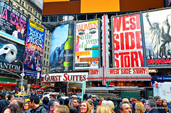 NY Signs (Rafakoy) Tags: pictures street city nyc people signs chicago ny newyork color colour tourism colors sign architecture digital photo nikon colours with image photos pov manhattan perspective picture entrance taken images tourist tourists made pointofview busy timessquare done avenue westsidestory rockofages afsnikkor18105mmvr nikond7000
