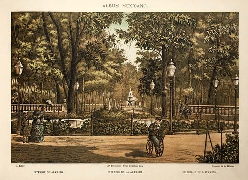005-Interior de la Alameda- Album Mexicano  Coleccion de Paisajes Monumentos Costumbres..1875-1855