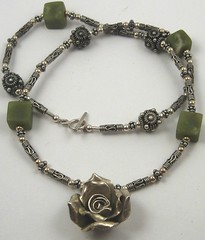 Jade and Bali silver necklace with Thai silver rose
