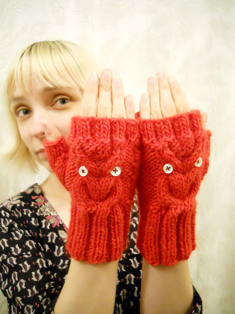 My owly mittens that Libby made!