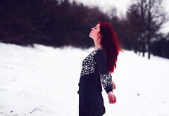 (Noukka Signe) Tags: winter red snow cold nature girl weather hair december alone dress free redhead explore signe explored noukka