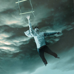 Hang On (Shawn Van Daele) Tags: blue portrait selfportrait fall night clouds photomanipulation photoshop vintage square twilight aqua perspective vertigo surreal rope ladder digitalmanipulation 365days shawnvandaele