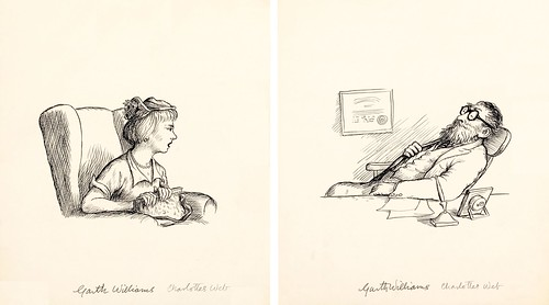 2 ink drawings: one of reclining bearded doctor + a seated female patient