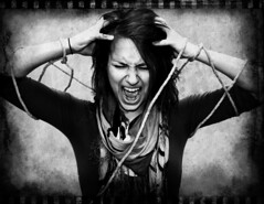 Bound (Michael Driscoll Jr.) Tags: bw white black rope scream angry mad screaming bound distressed frusterated