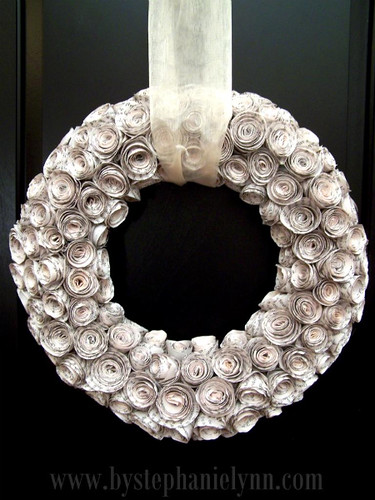 rosewood bookpage wreath