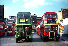 Aldgate (London) in 1967.HLX427 & NLE739. (David Christie 14) Tags: bus lt aldgate rtlrt72225