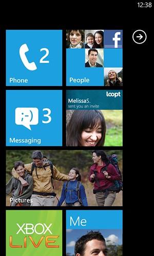 Windows Phone domácí obrazovka