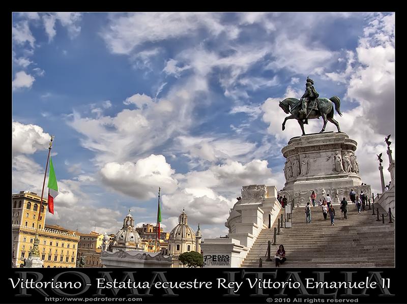 Roma - El Vittoriano - Estatua ecuestre del rey Vittorio Emanuele II de Saboya