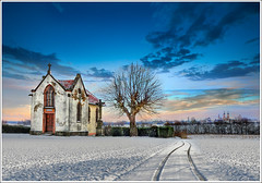 Steeples (Jean-Michel Priaux) Tags: blue winter white snow france art nature architecture photoshop painting way landscape nikon hiver religion chapel steeple alsace neige paysage glise blanc steeples chapelle hdr chemin anotherworld savage zhivago plaine sauvage ried d90 ebersmunster priaux chivago ebersheim vanagram doubleniceshot
