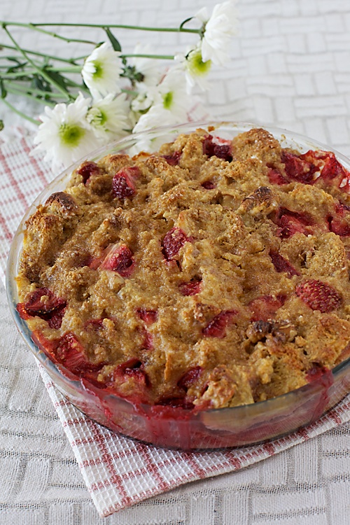 Bread And Butter Pudding With Strawberries And Walnuts