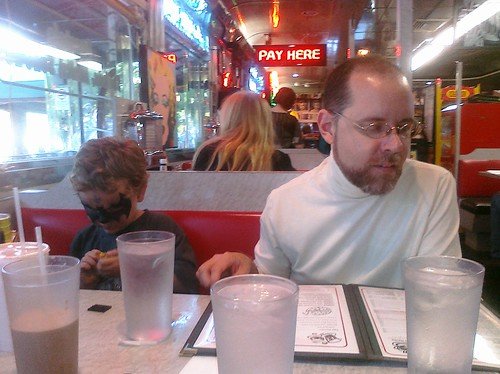 Isaac and Ben at the Diner