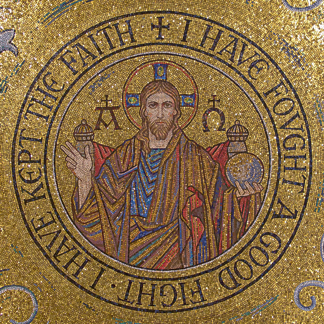 "Cathedral Basilica of Saint Louis, in Saint Louis, Missouri, USA - mosaic of Christ, ""I have fought a good fight"""