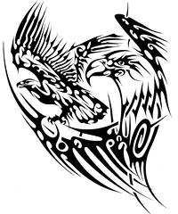 AQUIA (Black Crown . tribal) Tags: white black bird art dark design tribal tatoo