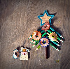 Merry Christmas! (Violet Kashi) Tags: christmas wood xmas tree art pine pencils floor naturallight explore gift happyholidays frontpage pencilshaving
