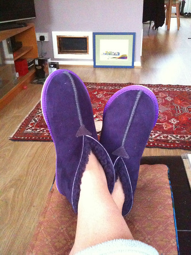 Purple Celtic Sheepskin slippers - mmmmm, toasty!
