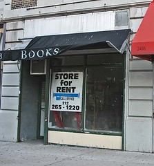 vacant bookstore, NYC (by: William Avery Hudson, creative commons license)